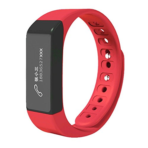 CEStore I5 Plus Ultra Light Bluetooth V4.0 Wasserdicht IP65 Tragbares Armband Gesundheit Fitness Smart-Armband mit Schrittzähler, Schlafüberwachung, Sitz-Erinnerung, Anruf-ID Display, rot