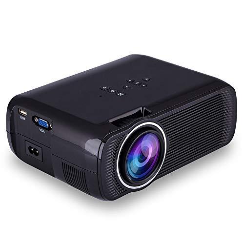 Draadloze wifi mini-projector, 1000 lumen thuisbioscoopsystemen met full-HD-130 inch scherm compatibel met tv-stick laptop iPhone Android Phone Xbox PS4 zwart