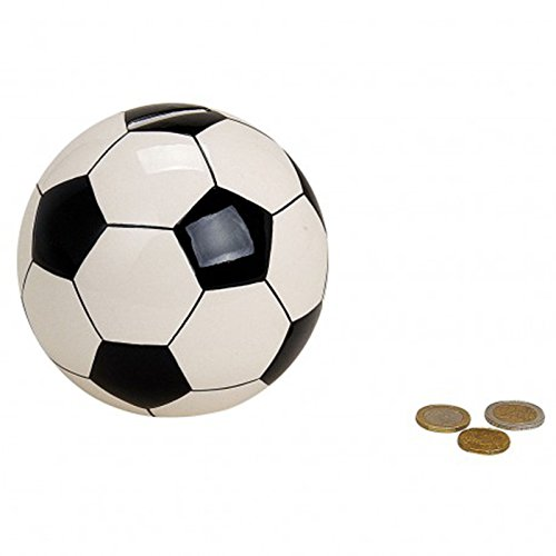 Fußball Spardose 13cm in Schwarz & Weiß | Keramik-Sparbüchse mit Schloss und Schlüssel | Kinder-Sparschwein Fussball