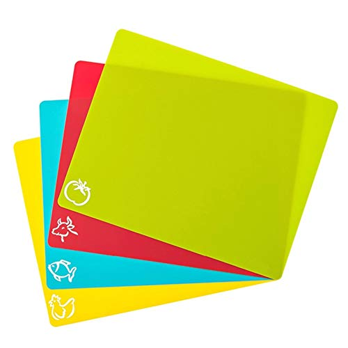 Portable Cutting Mat Set Colorful Kitchen Cutting Board Set Super Easy Clean Modern Cutting Boards Nice Flexible Non-Stick (Color : 4 pcs set)