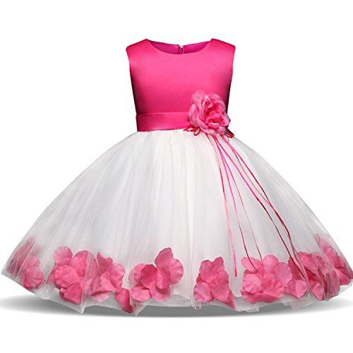 NNJXD Mädchen Tutu Blütenblätter Schleife Brautkleid für Kleinkind Mädchen, Rose 1, 4-5 Jahre/ Etikettgröße- 120