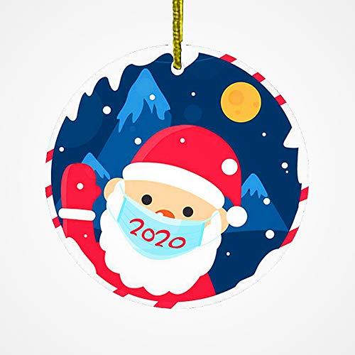 First Hallmark Ornament Santa Wearing Mask 2020 House Warming Ceramic Christmas Signs Quarantine Home Gifts Ornaments Flat Circle Porcelain Ceramic Ornament w Glossy Glaze Gold Ribbon & Free Box