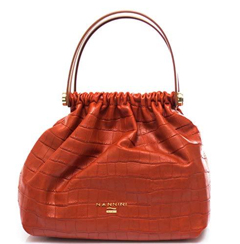 Nannini Handtasche für Damen, Lovely Kokos, Krokodil-Tasche, Orange Einheitsgröße