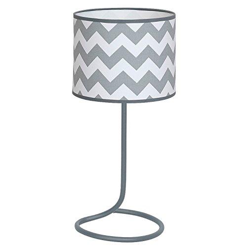 Graue Nachttischlampe rund Zylinder Schirm Muster 48cm Retro Metall Fuß wohnlich Tischlampe 60er Tischleuchte