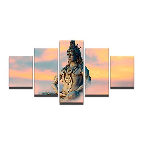 XXXCH Cuadro sobre Lienzo - 5 Piezas - Impresión En Lienzo - India Dios Religioso Shiva Cuadro De Pintura Póster De Arte Moderno Oficina Sala De Estar O Dormitorio Decoración del Hogar Arte 200X100CM