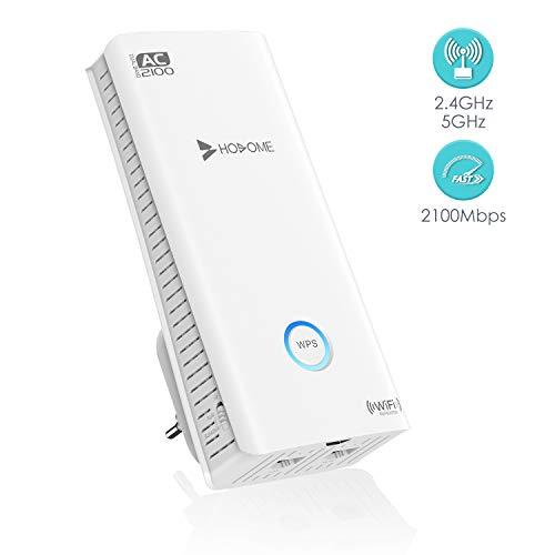 Hosome Repetidor WiFi 2100Mbps Amplificador WiFi 2.4GHz/5GHz Amplificador Señal WiFi con Ethernet WAN/LAN, WPS, Soporte de Antenas Duales Ap/Repetidor/Enrutador/, Enchufe y Ejecute