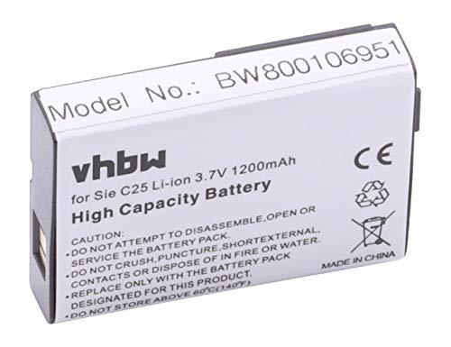 vhbw Li-Ion Akku 1200mAh (3.7V) für Handy Smartphone Telefon Siemens C25, C25 Power, C2588, C25e, C28 wie V30145-k1310-X103.