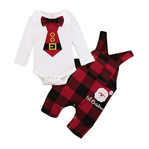 Newborn Baby Boy Girl My 1st Christmas Outfits Christmas Hat Tie Romper Santa Plaid Striped Overall Pant Set Clothes (Plaid, 0-3 Months)