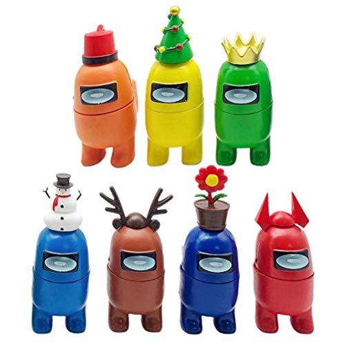 Among Us Juguetes de juego de muñecas de animales de Navidad, 7PCS Hot Game Animal Dolls Toys Home Car Decoración Regalos para fanáticos de los juegos, Among Us Muñecas para niños cumpleaños navidad