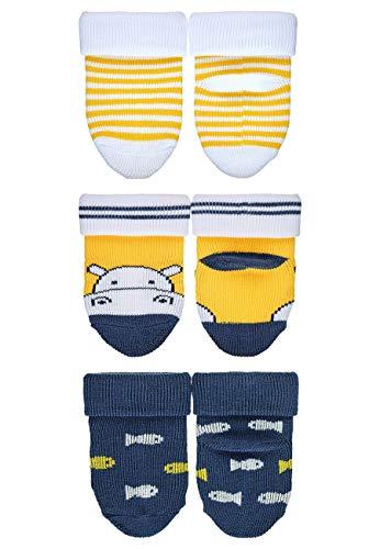 Sterntaler Baby Boys Erstlingssöckchen Nilpferd 8212100 Socken, Gelb/Dunkelblau, 21-22