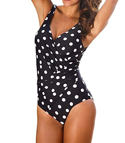 DELEY Traje de Baño de Una Pieza Acolchado Monokini para Mujer Ropa De Baño Talla Grande Bikini de Control de Abdomen