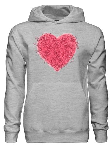 Precioso corazón hecho de rosas sudadera con capucha bnft, gris, M