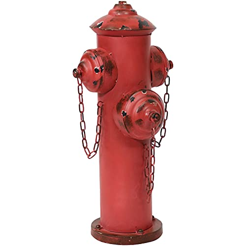 Sunnydaze Dog Fire Hydrant Pee Post Metal Outdoor Backyard Garden Accent - Puppy Training Statue Decoration - Powder-Coated with Red Paint Finish - 21-Inch Height