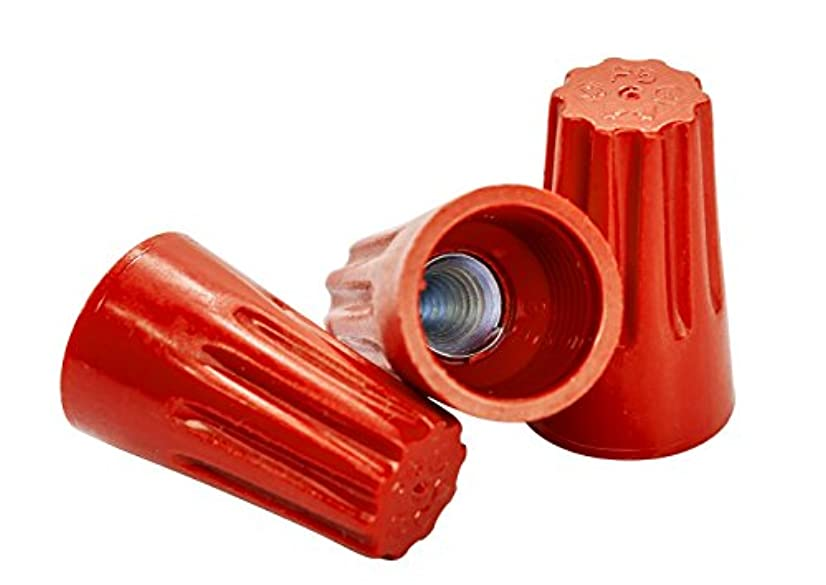 Red Wire Connectors, Bag of 100 - Twist-On P6 Type, Easy Screw On Cap, UL Listed and CSA Certified