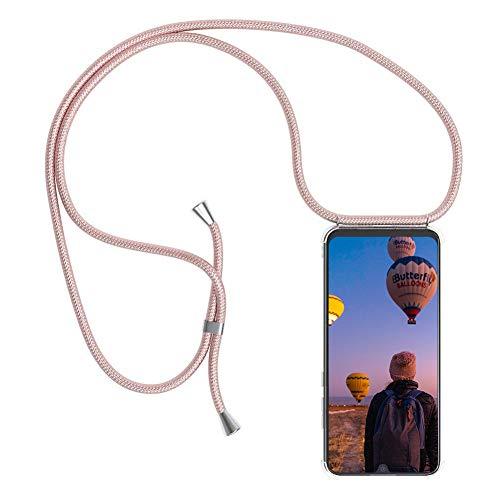 Funda con Cuerda para Huawei P Smart, Carcasa Transparente TPU Suave Silicona Cover Case Cubierta con Colgante Ajustable Collar Correa de Cuello Cadena Cordón/Funda Colgante movil con Cuerda