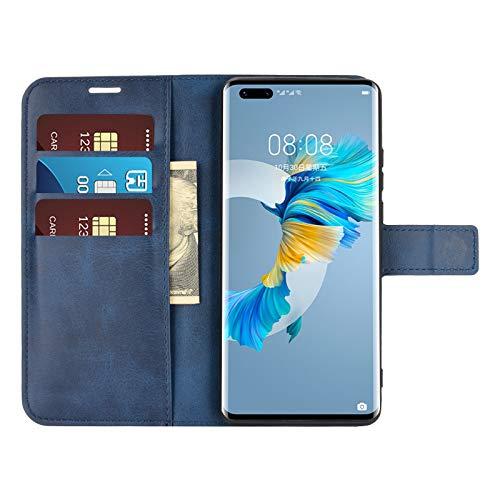 DAMAIJIA für Huawei Mate 40 Pro Hüllen Klapphülle PU Leder Silikon Wallet Schutzhülle Schutz Mobiltelefon Flip Back Cover für Mate 40 Pro Huawei 2020 Tasche Handy Zubehör (Blue)