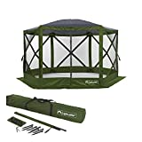 Lightspeed Outdoors Pop Up 6- Sided Screen Shelter 11.8' x 11.8'| Quick Setup 8 Person Pack N Go Gazebo with 2 Wind & Sun Panels