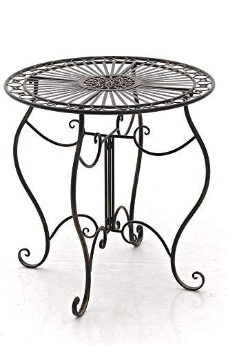 CLP Tavolino Giardino Indra I Tavolino caffè in Ferro Lavorato A Mano I Tavolino Tondo Balcone Rustico Shabby, Colore:Bronzo