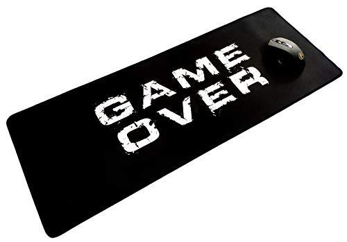 """tapis de souris gamer long XXL """" game over"""" (78 cm x 30 cm ), tapis de clavier pour bureau, base antidérapante, résistant à l"""