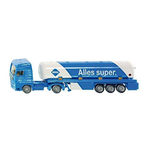 siku 1626, Tanksattelzug, Metall/Kunststoff, 1:87, Blau/Weiß, ARAL-Optik, Spielzeugauto für Kinder, Bereifung aus Gummi