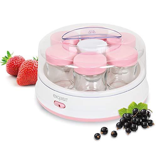 Exquisit Maker YM 3101 WEP | Joghurt selber Machen | Joghurtbereiter | 7 Portionsgläser á 200 ml | Spülmaschinen geeignet | 15 Watt | weiß-pink