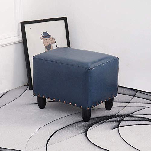 GCE Taburetes De Cuero Negro Cuero De Imitación Patas De Madera Negra para Sala De Estar Dormitorio Taburete De Pie De Piel Sintética Reposapiés Rectangular Taburete para Niños Taburetes-Azul