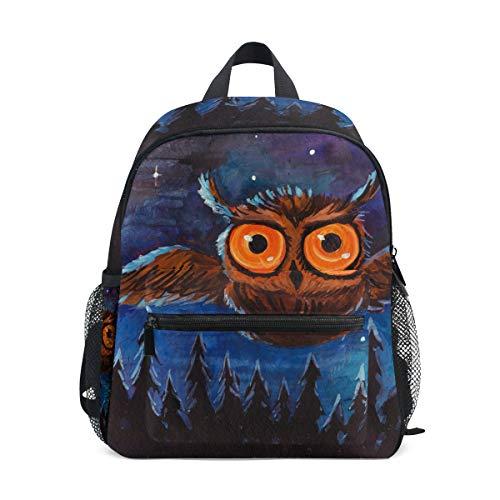 DOSHINE Kinder Kleinkind Rucksack Halloween Eule Vogel Mond Baum Kunst Vorschulbuch Tasche für Kinder Jungen Mädchen