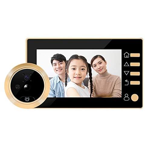 Sbeautli Timbre de 4,3 Pulgadas LCD Digital electrónica Espectador de la Puerta 145 del Grado HD Mirilla Timbre de la cámara de vídeo Fácil Instalación (Color : Gold)