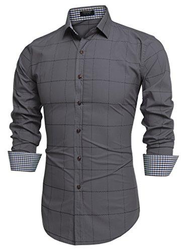 Coofandy Camisa Gris Hombre a Cuadros Cierre con Botones Talla Pequeña S