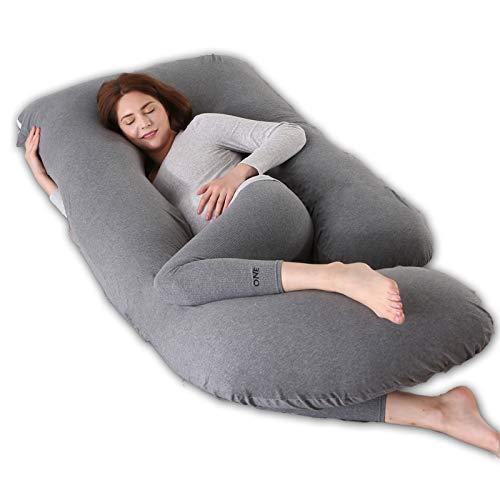 R&P Almohada Embarazada Maternidad Cojin Lactancia Forma de G Almohada de Cuerpo Entero Dormir, Fundas Algodon Desenfundable y Lavable Relleno de Poliester,A