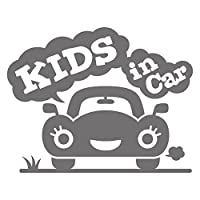 imoninn KIDS in car ステッカー 【シンプル版】 No.25 クルマさん (シルバーメタリック)