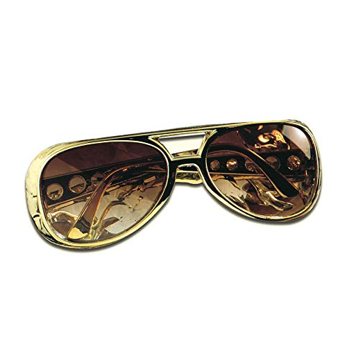Widmann 6740R - Rock ´n´ Roll Brille, goldfarbenes Gestell, bräunliche Kunststoffgläser, King, Accessoire, Kostümzubehör, Karneval, Mottoparty