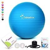 Sukudon バランスボール 45/55/65CM (11色) 厚い 重量増加 ヨガボール 滑り止め 環境に優しい 耐荷重800KG フィットネス エクササイズ ダイエット器具 椅子 日本語説明書付き(ブルー、L(58~65cm、高さ165-185cmに適応))
