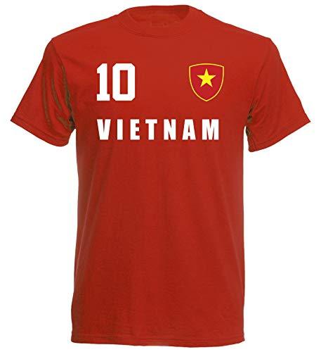 Vietnam WM 2018 T-Shirt Trikot Look - rot ALL-10 - S M L XL XXL (M)