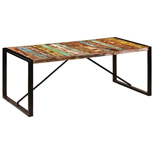 Festnight Mesa de Comedor Madera Maciza de Reciclada Estilo Industrial 200x100x75 cm