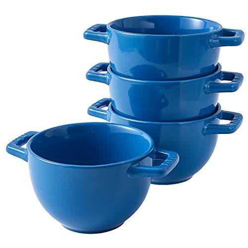 Bruntmor Set of 4 Large Soup Crocks with Handles for Cereal Bowl, Soup, Stew, Chilli, Oven safe Ceramic Serving Soup Bowl Set for kitchen. 24 Oz, Blue