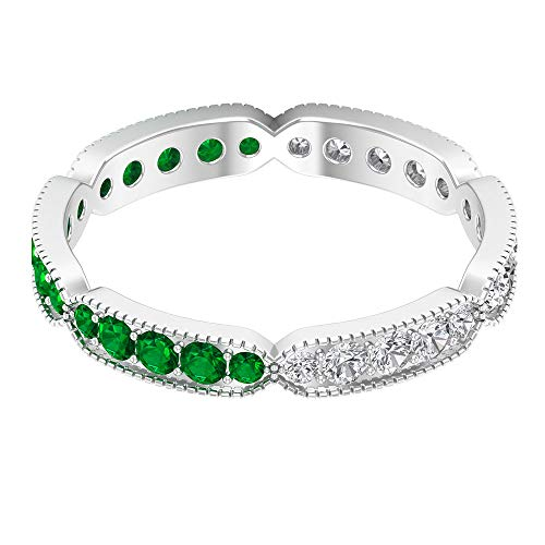 Rosec Jewels 10 quilates oro blanco redonda round-brilliant-shape H-I Green Diamond Zafiro azul Leb creado