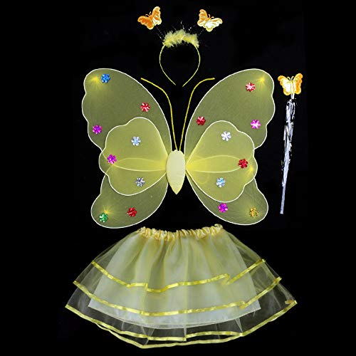 Miyanuby Fata Farfalla Bacchetta Fascia Costume da Principessa per Bambine 4 Pezzi / Set Costume da Fata Vestire per Feste in Giardino, Bomboniere, Costumi di Halloween.