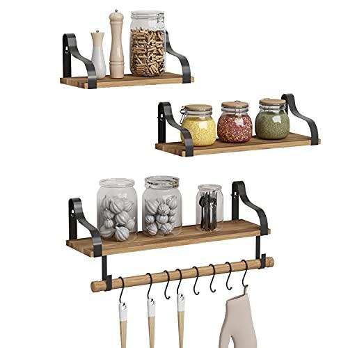 Floating Shelves Wood Wall Shelves Set of 3, Rustic Wall Mounted Storage Shelf with Hooks for Kitchen, Bedroom, Living Room, Bathroom