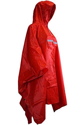 Sonia Originelli Regenponcho Regencape Fahrrad Jacke Regenschutz Rain Cape Herren Damen T-Cape4 (Rot)