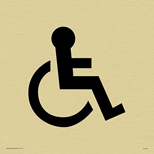 Viking Schilder dv749-s15-g Rollstuhl nur Symbol–Türschild, Kunststoff halbstarr Gold, 150mm H x 150mm W