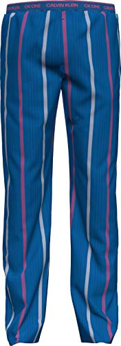 Calvin Klein Sleep Pant Pantaln de Pijama, Step Stripe_Kettle Azul, M para Hombre
