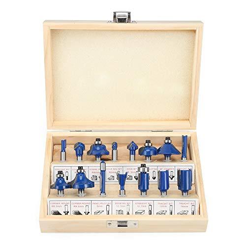 15pcs fresa Máquinas herramientas Conjunto Router Bit Llave for la herramienta de carpintería caña de la mano eléctrico del condensador de ajuste cortador de madera de carburo , Amplia aplicac