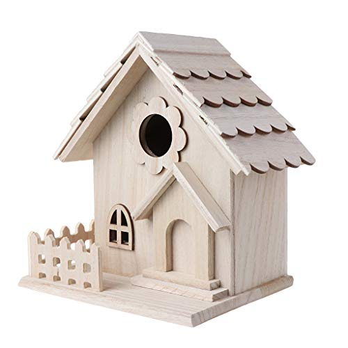 BELTI Wooden Bird House Breeding Cage Fence Box Nest Garden Backyard Home Decoration