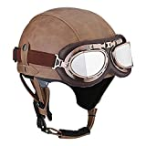 DQ-Walker Leather Motorcycle Helmet Retro Vintage Half Helmet Cruiser Scooter Touring Moto Helmet Sun Shield Lens DOT Certified(54-61CM)