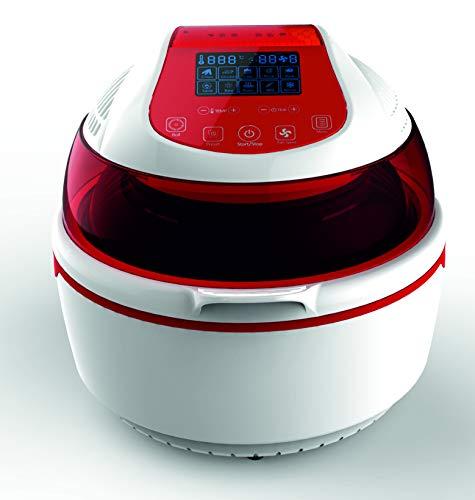 Sirge FRYLIGHT Friggitrice ad Aria Senza Olio, Forno Multifunzione Turbo ventilato, 1400 W, 10 Litri, Plastica, 3 velocità, Bianco-Rosso