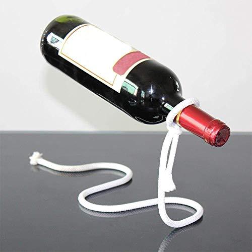 Estante de Vino Escultura 3D Cadena de artesanía Creativa Estante de Vino Soporte de Botella de Alcohol suspendido mágico Soporte de Botella de Vino de Cuerda Blanca Práctico Bar de Cocina en casa