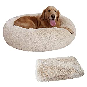 Patas Lague 2-Piece Donut Calming Dog Bed Set (1 Bed, 1 Blanket), Faux Fur Plush Cat Pet Bed, Comfortable and Washable, (30 inches, Beige)