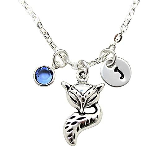 Silver Fox Birthstone Necklace - Personalized Fox Jewelry Themed Gifts for Girls - Swarovski Birthstone & Initial