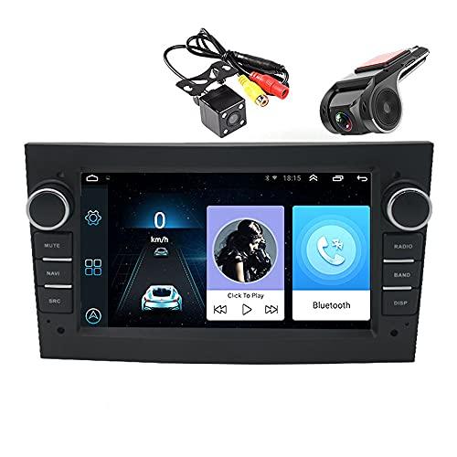 2 DIN 7 Pulgadas Android 9.1 (1G + 16G) Radio de Coche Bluetooth WiFi Navegación GPS Pantalla Táctil Reproductor Multimedia 2.5D IPS Compatible para O/Pel con Cámara 4LED + USB ADAS DVR